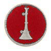 "1 Bugle (Lieutenant) in 3/4"" Red Round Disc Silver Finish"