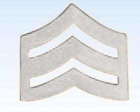 "1"" Police Chevrons Insignia Sergeant Silver Finish"