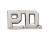 "1/2"" P.D. Cut Out Letter Collar Insignia Silver Finish"