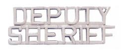 "1/4"" DEPUTY SHERIFF Cut Out Letter Collar Insignia Silver Finish"