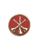 "3 Bugles (Assistant Chief) in 3/4"" Red Round Disc"