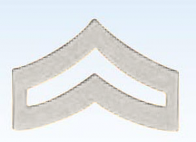 """3/4"""" Police Chevrons Insignia Corporal Silver Finish"""