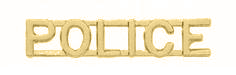 """3/8"""" POLICE Cut Out Letter Collar Insignia Gold Finish"""