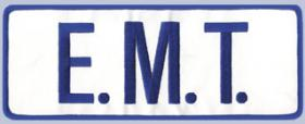 "4 x 11 Back Patch - ""E.M.T."" - Navy on white"