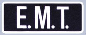 "4 x 11 Back Patch - ""E.M.T."" - White on Midnight Navy"