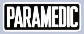 "4 x 11 Back Patch - ""PARAMEDIC"" - White on Black"
