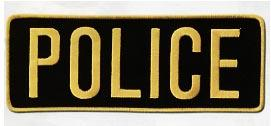 "4 x 11 Back Patch - ""POLICE"" - Gold on Black"
