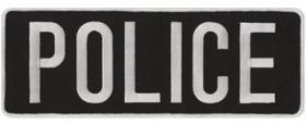 "4 x 11 Back Patch - ""POLICE"" - Silver Gray on Black"
