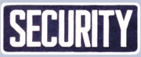 "4 x 11 Back Patch - ""SECURITY"" - White on Midnight Navy"
