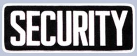 "4 x 11 Back Patch - ""SECURITY"" - White on black"