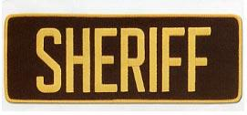 "4 x 11 Back Patch - ""SHERIFF"" - Gold on brown"
