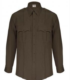 Elbeco TexTrop2 Men's Sheriff Long Sleeve Shirt w/ Taupe Epaulets & Zipper Front