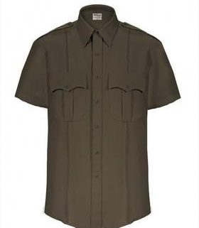 Elbeco TexTrop2 Men's Sheriff Short Sleeve Shirt w/ Taupe Epaulets & Zipper Front