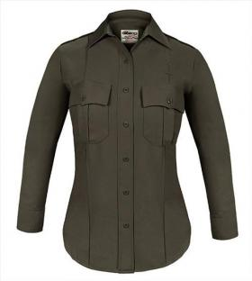Elbeco TexTrop2 Women's Sheriff Long Sleeve Shirt w/ Taupe Epaulets & Zipper Front