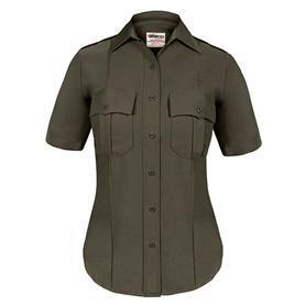 Elbeco TexTrop2 Women's Sheriff Short Sleeve Shirt w/ Taupe Epaulets & Zipper Front